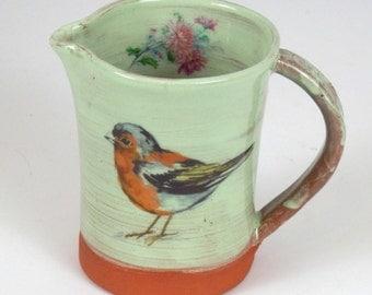 Bird  jug - chaffinch jug - bird pitcher - flower jug - flowers pitcher - handmade jug - bird lovers gift - mothers day gift