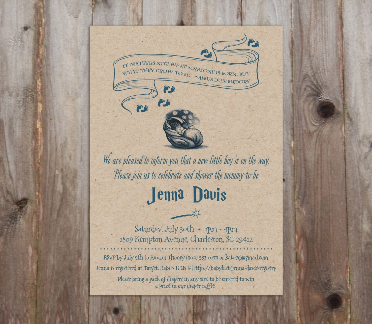 Harry Potter Baby Shower: Harry Potter Baby Shower Invitations A7 HP Theme Harry