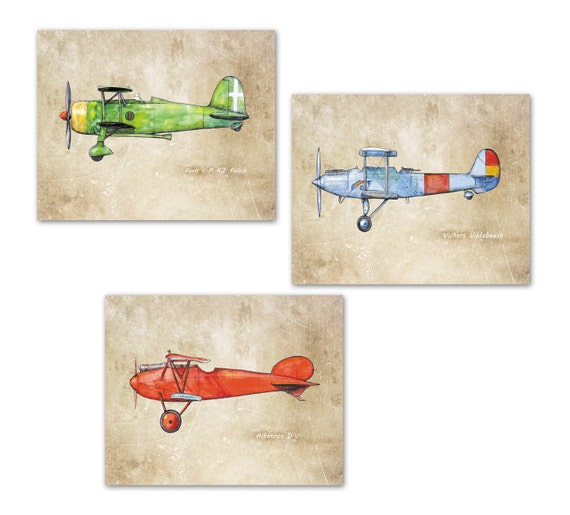 Airplane Nursery Prints Vintage Airplanes Old Paper Decor Set