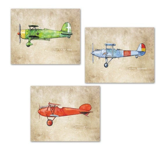 Airplane nursery prints vintage airplanes old paper decor set Vintage airplane decor for nursery