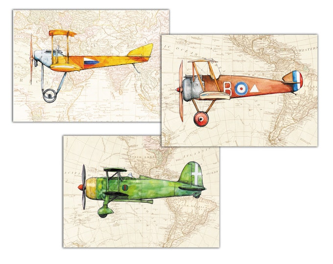 Airplane Map decor Prints Military airplanes Vintage world map Set 3 posters Aircraft Retro airplane painting Boy's nursery wall art