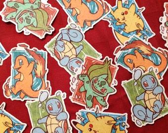 Vinyl Die-Cut Pokemon Stickers - Kanto Starters