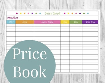 Price Book - Grocery Shopping, Kitchen Printable