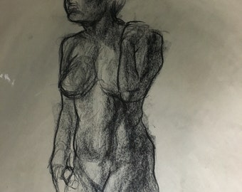 "Charcoal Figure Drawing Study | Female Figure Life Study | Sketch 16 x 20 | Standing Nude | ""Female 03"""