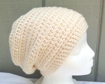 Cream slouchy hat - Crochet beanie - Chunky crocheted hat - Teens wool blend beanies