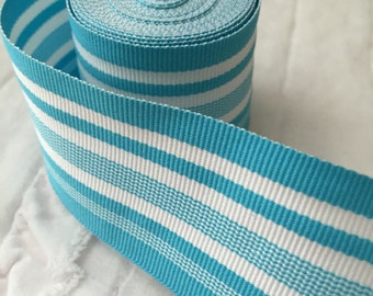"1.5"" Blue and White Striped Grosgrain Ribbon 