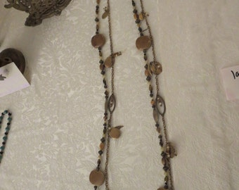 Extra Long Necklace, Two strand Necklace, 7 Necklaces In One, Back Jewelry,Brass, Ceramic,Tiger Eye,Agate, Necklace Extender