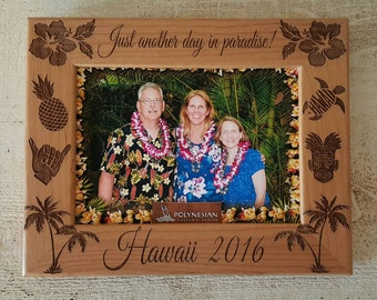 Hawaii Picture Frame 8x10 Vacation  Custom Laser Engraved Frame