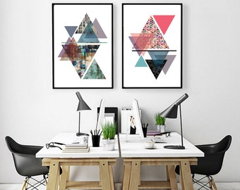 Triangle art, modern wall art, abstract art, modern decor, minimalist print, geometric, giclee print, original artwork, modern art