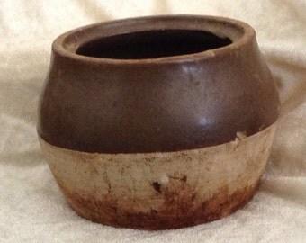 Antique Brown Glazed Food Crock