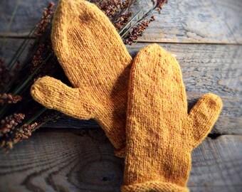 Hand knit mittens - warm winter mittens - Womens yellow gold wool mittens - knitted