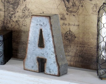 Rustic/ Signage/ Metal Letter/ Industrial/ Galvanized Letter/ 7 inch Letter/  Rustic Wall Decor/ Rusti Chrome Decor/ Tin Letters/ Initials