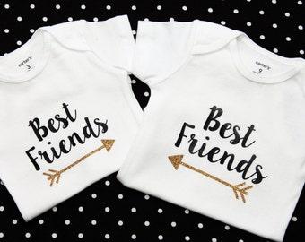Best Friends Matching Onesies,  Little Besties, Hospital Outfit Matching, Twins Glitter, Carters