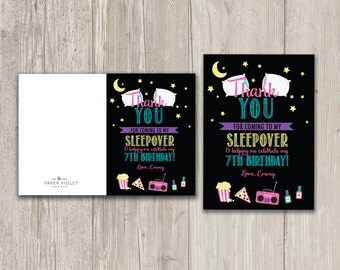 Slumber Party Thank You Cards, Pajama Party Thank You Card    Digital File