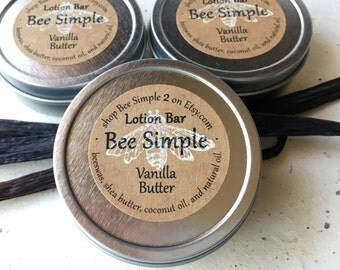 Vanilla Butter Beeswax Lotion Bar by Bee Simple - Shower Gift - Hand Lotion - Fair Trade - Natural Shea - Solid Lotion Bar- Bee Gift