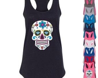 Sugar Skull LADY  TANK TOP Shirt Day of the Dead Mexican Celebration Lady Tank Top Calavera Dia de los muertos Skull Tee Women TankTop Skull