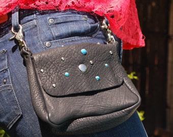 Rustic Deerskin Belt Loop Gusset Hip Bag, Black with Turquoise Studs