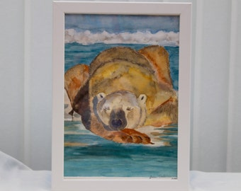 Sleeping Polar Bear, Animal Painting, Arctic Landscape,  Copy, Original Watercolour, 9.5  x 13 Inches, Framed Ready to Display, White Frame