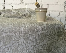 Natural Flax Color Linen Tablecloth- Luxurious Vintage Style Table Tablecloth-Large Light Grey Floral Tablecloth