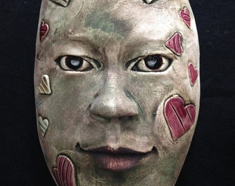 Striped hearts Mask - Ceramic Wall Mask Sculpture, original handmade ceramic mask, One Of A Kind Clay Face