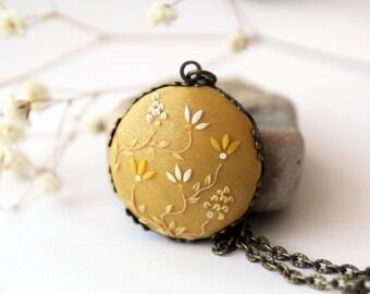 Mustard Yellow Necklace, Yellow Pendant, Mustard Wedding, Yellow Bridesmaid Gift, yellow necklace, Boho Jewelry, yellow flower, sunflower