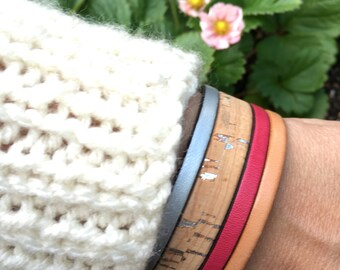 Leather & Cork Cuff Bracelet