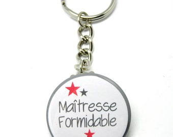 37mm bright red amazing teacher personalized key ring