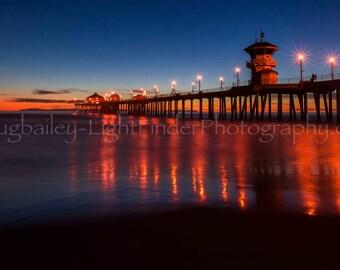 "Beach Photo ""Light Streams"" Huntington Beach Ca.,Metal Print,Beach Cottage Decor,Coastline Photo,Fine Art, Beach Chic, Available in Canvas,"