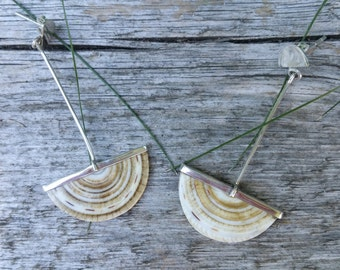 Amazing Fossil Shell and Sterling Silver Earrings