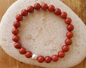 S A L E Red Jasper Bracelet, Beaded Bracelet, Stretch Bracelet, Jasper Bracelet, Beaded Bracelet, Red Bracelet