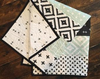 Mint, Black, White Modern Quilt, Baby Quit, Baby Blanket