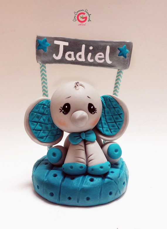 elephant cake topper turquoise elephant baby shower first birthday