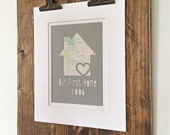 Personalized Home Map Matted Gift - Anniversary Gift - Engagement Gift - Family Name Paper Art