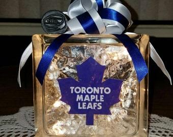 TORONTO MAPLE LEAFS Hockey Lighted Glass Block Nightlight and Decoration