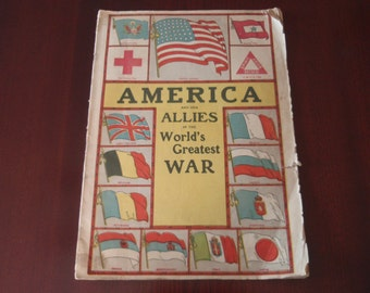 RARE 1919 America and Her Allies in the Worlds Greatest War Magazine Maps Photos Collectible Antique Ephemera Militaria  a2677