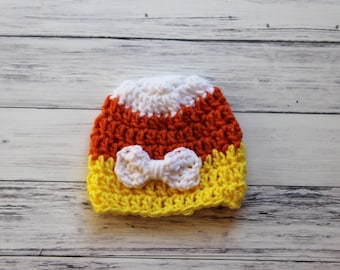 Crochet Baby Hat, Baby Halloween Hat, Candy Corn Hat, Newborn Candy Corn, Baby Candy Corn Hat, Halloween Baby, Newborn Photo Prop