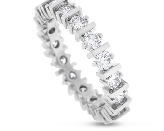 1.50 CT Natural Round Diamond Eternity Band in Solid 14k White Gold