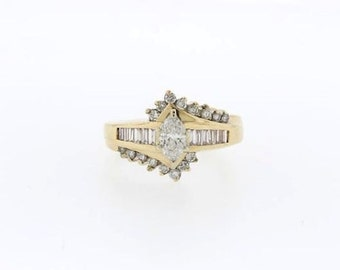 1.19 CT Natural Diamond Marquise Engagement Ring in Solid 14 KT Yellow Gold