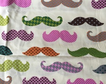 """Pink Mustache Print 100% cotton quilting weight fabric - 1 yard and 12"""""""