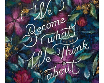 """Earl Nightingale   Print Chalkboard Quote """"We become what we think about"""" Positivity, Thoughts (S, L, XL)"""