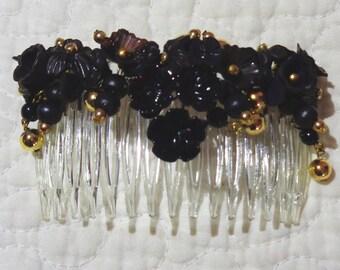 Black & golden kanzashi