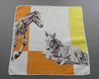 Mare and Foal - Vintage 1950s Cotton Hankie Handkerchief