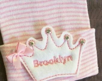 Newborn Hospital Hat Monogramed with Name! 1st Keepsake! Super Cute! White Monogrammed Tiara on White/Pink Hat! With Rhinestones.Gre