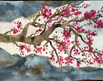 Cherry Blossoms. Original Watercolor Painting, Unique Layered Concept...11x15 Unframed Wall Art with Pink, Brown, Gray. Customize it!