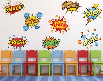 Fabric Superhero Comic Book Words Pow, Zap, Boom, Smash, Wall Stickers, Comic Book Wall Decals, Boys Repositionable, Reuseable