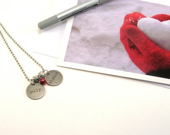 SALE! Jolly St. Nick Necklace, Metal Tag, Jolly, Santa, Jingle Rell, Red, Tim Holtz Tag