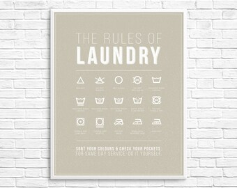 "Laundry Room Rules Symbols Home Poster Print - INSTANT DOWNLOAD - 16""x20"""