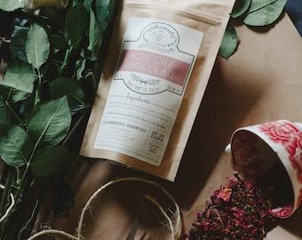 Rose City Chocolate Handcrafted Tea W/ Cocoa Nibs | ORGANIC  | Herbal | Winterwoods Tea Company Loose Leaf Blend