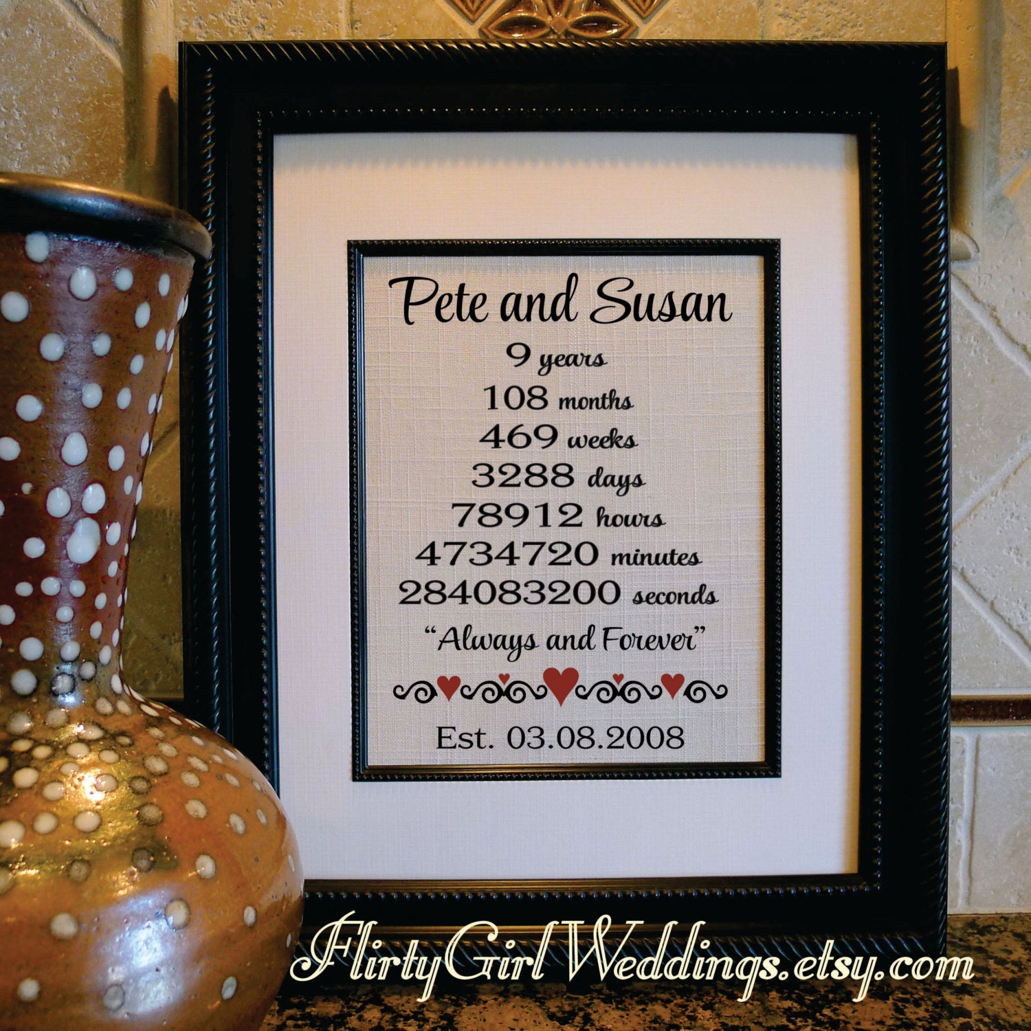 9th Year Wedding Anniversary Gifts: Ninth Wedding Anniversary Burlap 9 Years Married 9th
