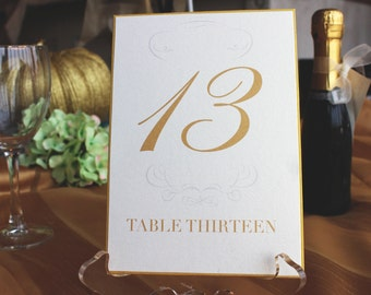 Table Number Cards, Table number signs, wedding table numbers, custom,  Gold Metallic Card Stock, wedding decor, 2 layers 5 x 7  #TC-1620